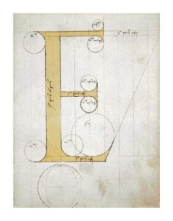 """Unknown Fine Art Open Edition Giclée:""""Letter E - Alphabet: Forms and Proportions of Roman Capital Letters"""""""