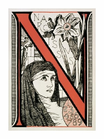 """Unknown Fine Art Open Edition Giclée:""""The Letter 'N' ( Is for Nun, Narcissus...)"""""""