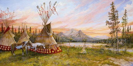 """Valeria Yost Handsigned and Numbered Limted Edition Print: """"Evening Fire"""""""