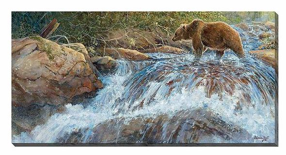 """Valeria Yost Open Edition Gallery Wrapped Canvas:""""Wilderness Walk-Grizzly"""""""
