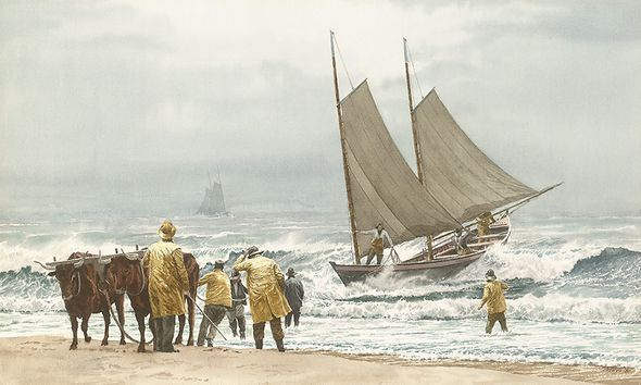 """Victor Mays Open Edition Gallery Wrap Canvas Giclee:""""Block Island Boat Beaching"""""""