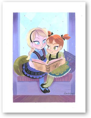 """Victoria Ying Signed and Numbered Giclée on Archival Watercolor Paper:""""Sisters- Frozen"""""""