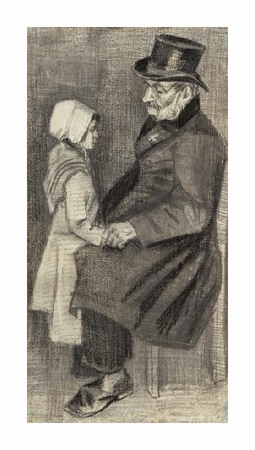 "Vincent Van Gogh Fine Art Open Edition Giclée:""Orphan Man, Sitting with Little Girl"""