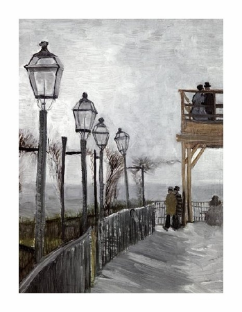"Vincent Van Gogh Fine Art Open Edition Giclée:""Terrace and Observation Deck at the Moulin"""