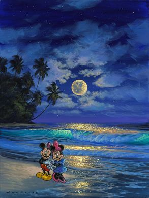 "Walfrido Garcia Hand-Embellished Giclée on Canvas:""Romance Under the Moonlight"""
