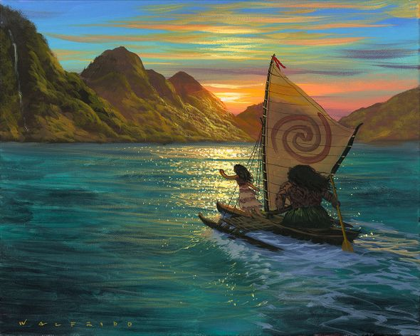 "Walfrido Garcia Hand-Embellished Giclée on Canvas:""Sailing Into the Sun"""
