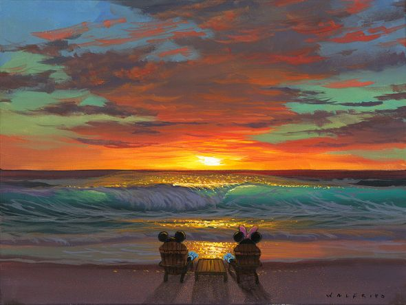 "Walfrido Garcia Hand-Embellished Giclée on Canvas:""Sharing a Sunset"""
