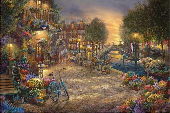 "Thomas Kinkade Studios Limited Edition Hand Embellished Canvas Giclee:""Amsterdam Cafe"""