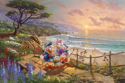 """Thomas Kinkade Studios Disney Limited Edition:""""Donald and Daisy - A Duck Day Afternoon"""""""
