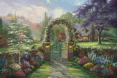 "Thomas Kinkade Studios Limited Edition Fine Art Giclee Print:""Hummingbird Cottage"""