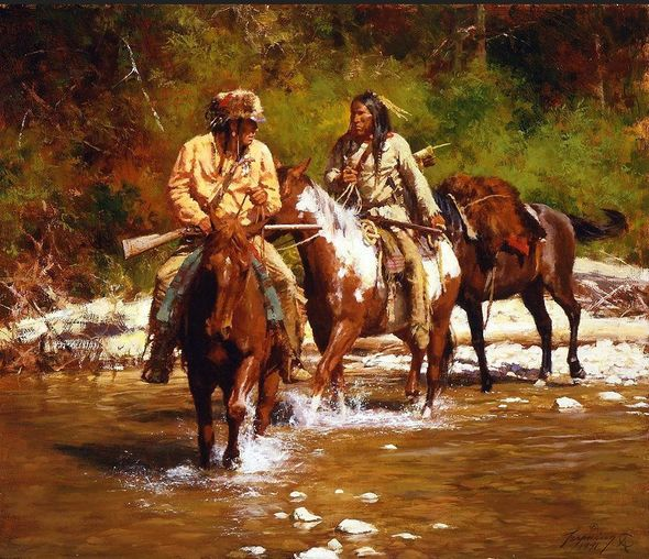 """Howard Terpning Consecutively Numbered Open Edition Canvas:""""Crossing Badger Creek"""""""
