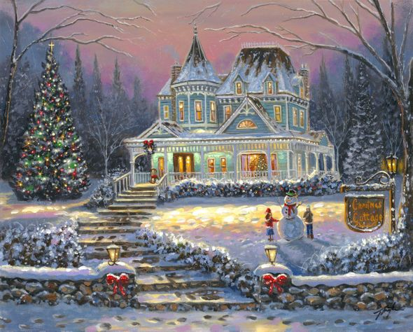 """Robert Finale Artist Signed Limited Edition Hand-Embellished Canvas Giclee:"""" Christmas Cottage"""""""
