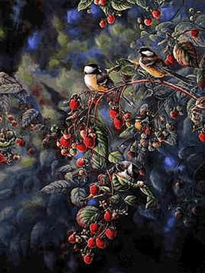 "Wanda Mumm Limited Edition Print: ""Red Raspberries and Chickadees"""