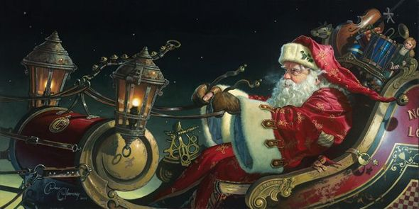 """Dean Morrissey Gallery Wrap 28x14 Canvas Giclee:""""Father Christmas: The Sleigh Ride"""""""