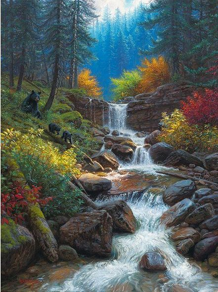 "Mark Keathley Hand Signed and Numbered Limited Edition Embellished Canvas Giclee:""Mountain Cascade"""