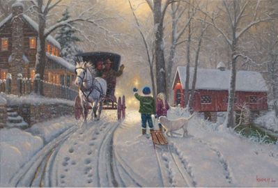"Mark Keathley Hand Signed and Numbered Limited Edition Embellished Canvas Giclee:""Community of Warmth"""