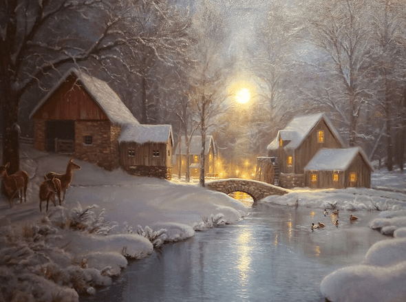 "Mark Keathley Artist Hand Signed Limited Edition Embellished Canvas Giclee:""A Cold Winters Night"""