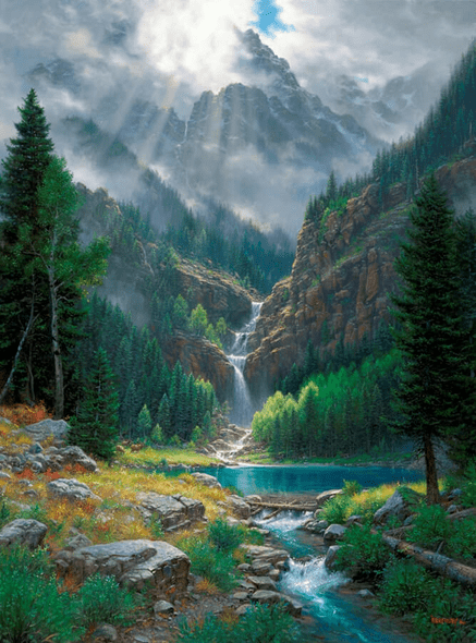 """Mark Keathley Artist Hand Signed Limited Edition Embellished Canvas Giclee:""""When the Light Breaks Through"""""""