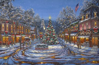 """Robert Finale Artist Signed Ltd Edition Canvas Giclee:""""Christmas in Vermont"""""""