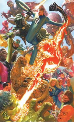 """Alex Ross Artist Signed Limited Edition Canvas Giclee:"""" Marvelocity: Fantastic Four"""""""