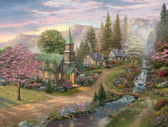 "Thomas Kinkade Limited Edition Giclee:""Sunday Morning Chapel - Chapels of Nature VII """