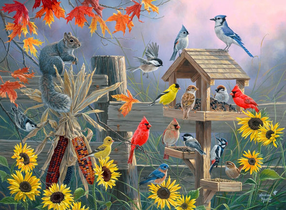 "Abraham Hunter Artist Hand Signed Limited Edition Embellished Canvas Giclee:""Autumn Gathering"""