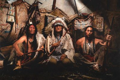 """John Coleman Oversized Limited Edition Canvas Giclee:""""Gall - Sitting Bull - Crazy Horse, 1876"""""""