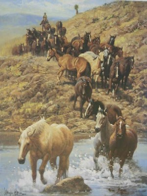 """Wayne Baize Hand Signed and Numbered Limited Edition Lithograph On Paper """"Along the Trail"""""""