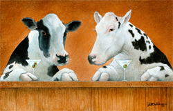 """Will Bullas Fine Art Open Edition Canvas :""""Moo Moos and Martinis"""""""