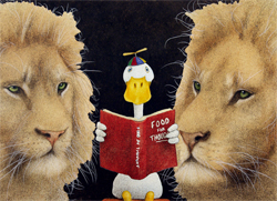 """Will Bullas Fine Art Open Edition Canvas :""""Reading Between the Lions"""""""