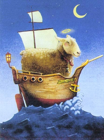 """Will Bullas Fine Art Signed Open Edition Paper :""""Holy Sheep Ship"""""""