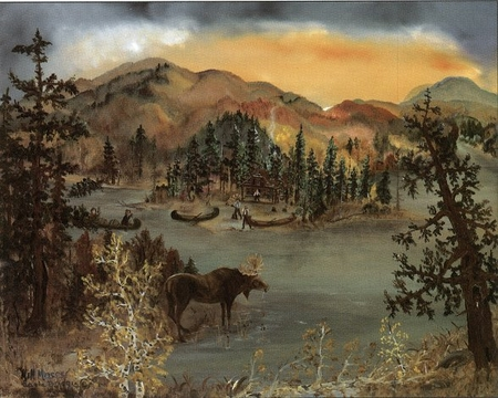 """Will Moses Handsigned and Numbered Limited Edition Print:""""Moose Woods"""""""