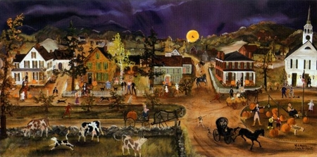 """Will Moses Handsigned & Numbered Limited Edition Lithograph : """"Pumpkins on the Green"""""""