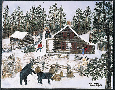 """Will Moses Handsigned & Numbered Limited Edition Serigraph:"""" Snowy Cabin"""""""