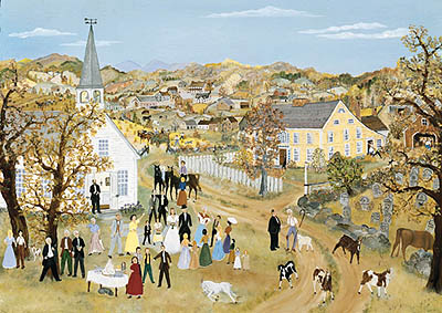 "Will Moses Handsigned & Numbered Limited Edition Serigraph:""Wedding in the Hills """