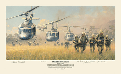 "William Phillips Counter Signed Artist Proof Limited Edition Print: ""First Boots on the Ground"""