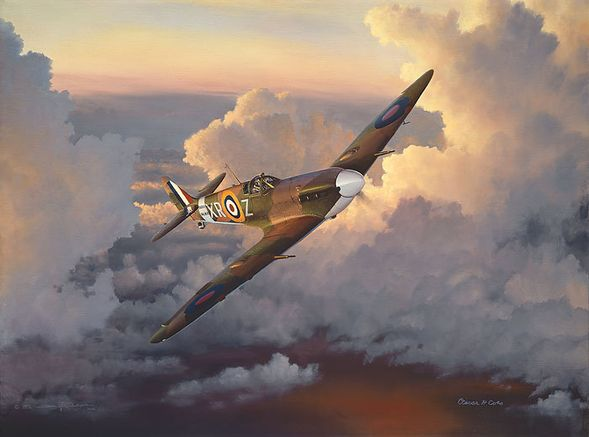 """William Phillips Hand Signed and Numbered Limited Edition Canvas Giclee :""""A Time of Eagles (Spitfire)"""""""