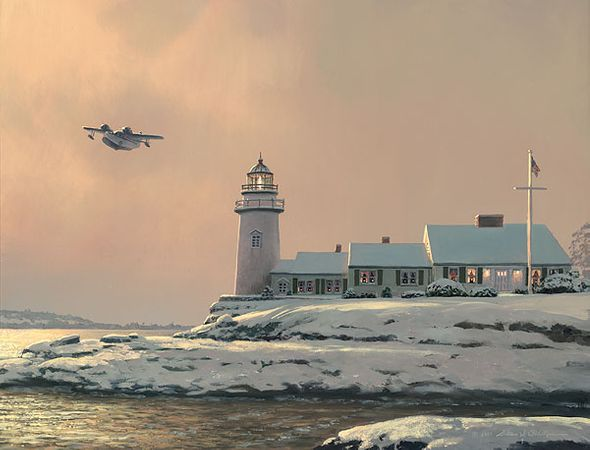"""William Phillips Handsigned and Numbered Limited Edition Canvas Giclee:""""Afternoon Departure at Stoney Point Light"""""""