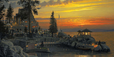 """William Phillips Handsigned and Numbered Limited Edition Giclee on Canvas:""""An Evening to Remember at Thunderbird Lodge, Lake Tahoe"""""""