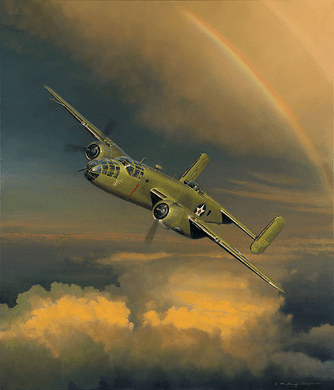 """William Phillips Handsigned and Numbered Limited Edition Print (Co-signed by members of The Yellow Rose Squadron of the C.A.F.) : """"Westbound: A Date with the General"""""""