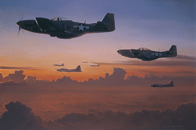 """William S. Phillips Counter Signed and Numbered Limited Edition Print:""""The Long Ride Home P-51D """""""