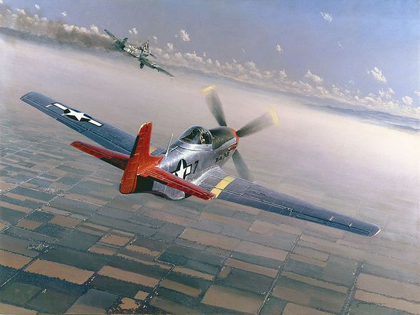 """William S. Phillips Hand Signed and Numbered Limited Edition Canvas Giclee :""""Two Down, One to Go (Tuskegee Airman)"""""""