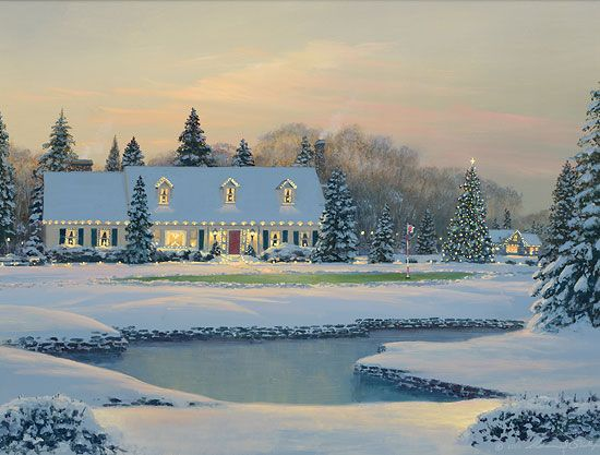 "William S. Phillips Handsigned and Numbered Fine Art SmallWorks™ Giclée Canvas:""Christmas on the Eighth"""
