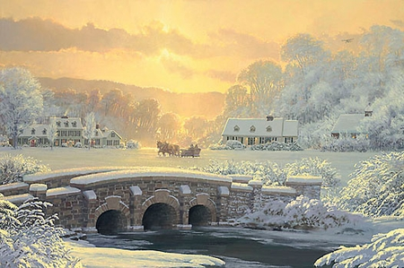 """William S. Phillips Handsigned & Numbered Limited Edition Print:""""Sleigh Ride At Apple Creek"""""""