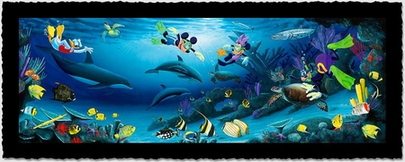 """Wyland Artist Signed Limited Edition Giclee on Hand Deckled Paper:""""Disney Dive Buddies"""""""