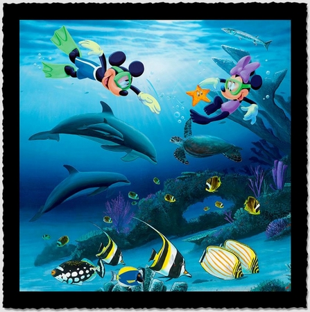 """Wyland Artist Signed Limited Edition Giclee on Hand Deckled Paper:""""Dive Buddies (Mickey and Minnie)"""""""