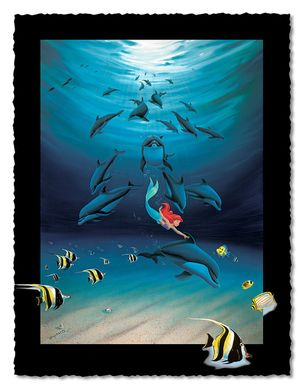 """Wyland Artist Signed Limited Edition Giclee on Hand Deckled Paper:""""Ariel's Dolphin Playground"""""""