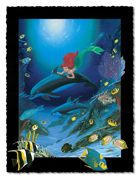 """Wyland Artist Signed Limited Edition Giclee on Hand Deckled Paper:""""Ariel's Dolphin Ride"""""""
