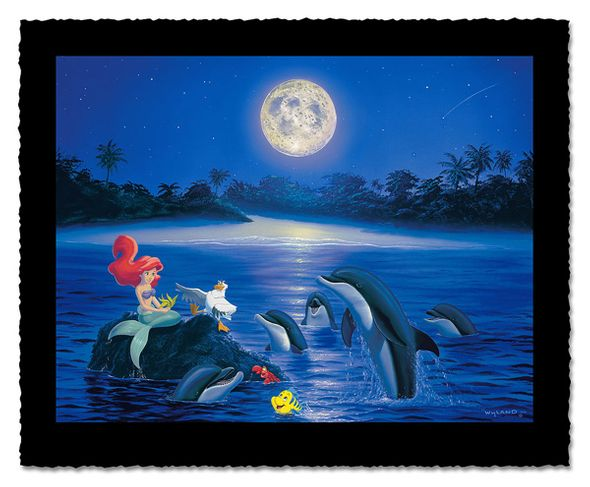 """Wyland Artist Signed Limited Edition Giclee on Hand Deckled Paper:""""Ariel's Dolphin Serenade"""""""