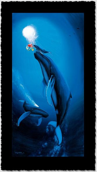 """Wyland Artist Signed Limited Edition Giclee on Hand Deckled Paper:""""Ariel's First Breath"""""""